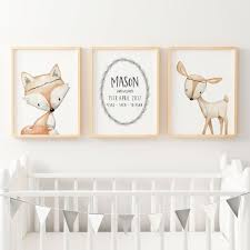 >woodland boho animal nursery wall art print set personalised birth  baby boys woodland nursery or bedroom wall art decor print set birth print