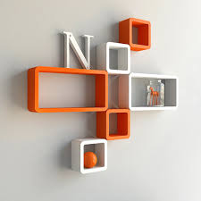wall shelves india orange white