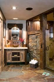 bathroom design center 3. Rustic Master Bathroom With Slate Floors, Specialty Door, Flat Panel Cabinets, 3 Inch Design Center D