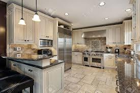 Kitchen Breakfast Bar Upscale Kitchen In Luxury Home With Breakfast Bar Stock Photo