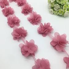 <b>1 Yard 3D</b> Mauve Chiffon Flower Lace Trim Baby Hair Band Lace ...
