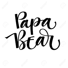 Papa Design Papa Bear Isolated Handdraw Simple Vector Calligraphy Bear