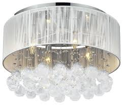 crystal chandelier flush mount flush mount with 4 light chrome and white shades crystal chandelier crystal