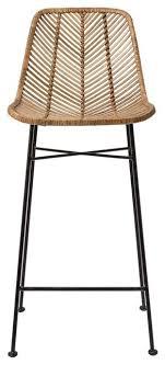 natural rattan and black metal frame bar stool