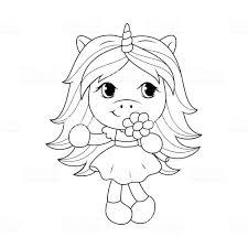 Schattige Baby Unicorn Bloem Kleurplaten Pagina Voor Meisjes Te
