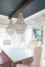 dining room bench fabric ruffles beaded chandelier cloud wallpaper marble table parsons chairs wonderland 4 of 6