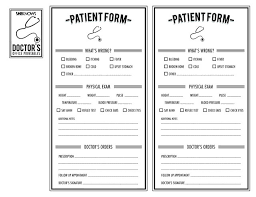 Free Printables For Pretend Play Like Doctors Patient Form