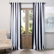 Exclusive Fabrics Black and White Vertical Striped Blackout Curtain Panel  Set - Free Shipping Today - Overstock.com - 16714701