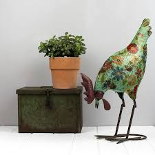 metal hen garden ornament cream hen green fl hen pecking