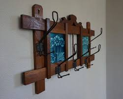 Arts And Crafts Coat Rack Early 100th Century Arts And Crafts Oak And Majolica Glazed Flower 47