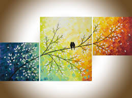 a warm winter by qiqigallery 40 x20 yellow art colorful abstract art set of 3 wall art acrylic love bird painting home decor canvas art shabby chicbird