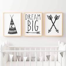 boho tribal print set arrows teepee dream big nursery or bedroom wall art boho print  on dream wall art target with art dream wall art believe wish dream wall decals removable