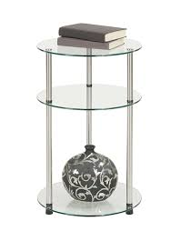 glass side table. Amazon.com: Convenience Concepts Designs2Go Go-Accsense 3-Tier Round Glass Side Table, Clear Glass: Kitchen \u0026 Dining Table