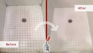 before and after picture of a tile shower caulking service in yorktown heights ny