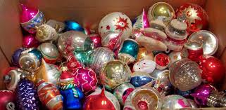 Sorting through vintage Christmas ornaments