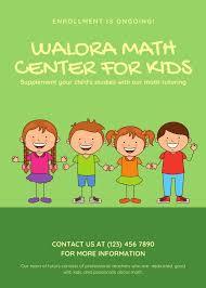 Green Kids Illustration Math Tutor Flyer Templates By Canva