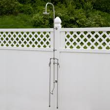 this outdoor shower this features dual pipes to allow for hot and cold water made of durable solid stainless steel 258592signature hardware