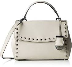 michael kors ava small studded saffiano leather satchel 30t6ta6s1l cement