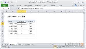 Calendar Year Quarters Excel Formula Get Quarter From Date Exceljet