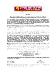 Form Of Share Certificate Notice Sub Division Of Face Value Of Equity Shares Of Punjab