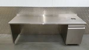 stainless steel cafe counter back bar prep table cupboard with void below