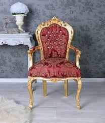 Details Zu Barockstuhl Rot Gold Glamour Armlehnstuhl Esszimmerstuhl Strasssteine Stuhl