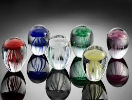 mini art glass jellyfish sculptures set of 6
