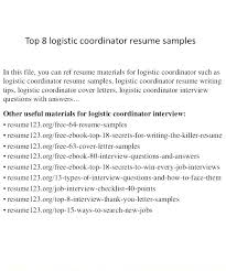 Logistics Coordinator Resume Sources Coloring Pages