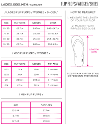 Flip Flop Chart Size Guide Ripples Online Store