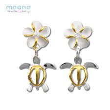hawaiian jewelry earrings silver 925 honu plumeria 2 tone women s festive gift gifts p19may15 ringtone in review case with courier