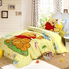 Comfortable Bright Girls Bedrooms Design Ideas With Cute Winnie The Pooh  Cartoon Bedding Pattern
