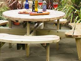 summary the grange round table and bench combination set