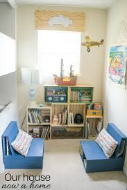 easy to make diy kids bedroom reading nook low cost crate bookshelf simple diy