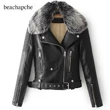2019 winter artificial leather jacket women fur neck warm short jacket especially female black coat women motorcycle from salom 64 7 dhgate com