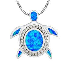 2019 blue fire opal whole fashion jewelry silver plated lovely sea turtle pendants and necklace for women pj17091306 from starch 26 68 dhgate com