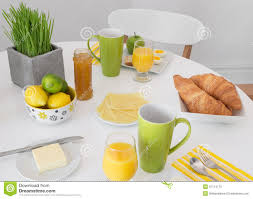 Table Setting For Breakfast Bright Table Setting With Tasty Breakfast Royalty Free Stock