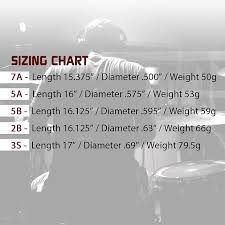 Drumstick Weight Chart Laser Engraved Diamondback Drumsticks Nylon Tip 7an