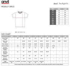 Anvil T Shirts Size Chart Anvil Youth Shirt Size Chart Www Bedowntowndaytona Com