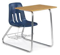 school desk and chair combo. Virco Soft Plastic Sled-based Student Chair Desk Combo, Includes Wire Book Rack School And Combo