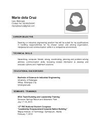 Sample Resume for Industrial Enginering. Marie dela Cruz Lipa, Batangas  Contact No: 09166254345 mariedelacruz@gmail.com Seeking ...