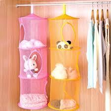 hanging toy organizer 3 shelf hanging toy organizer toys bag storage net mesh basket bedroom wall
