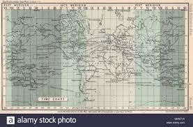 World Time Chart Bartholomew 1904 Antique Map Stock Photo