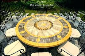 tile patio table set mosaic round marble stone top outdoor ceramic