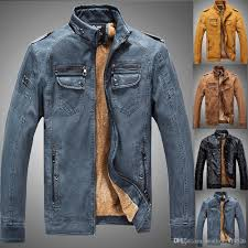 denim color new winter leather jacket mens coats fur inside men motorcycle jacket high quality thick warm pu leather outwear leather er outdoor jacket