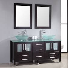 cambridge  inch glass double vessel sink vanity with glass