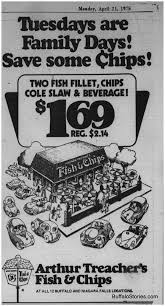 arthur treachers fish and chips april 20 1975 whats the family day special at arthur treachers