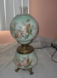 antique victorian oil lamp electric painted glass globes