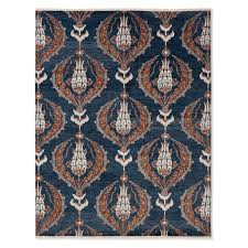 ottoman garden hand knotted rug peacoat spice