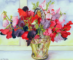 water painting sweet peas in a vase by joan thewsey