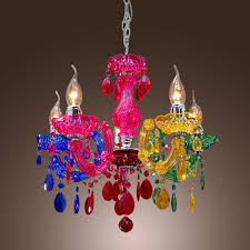 mini modern chandelier 5 lights crystal like acrylic multi color 1